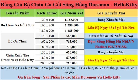 bang gia chan ga goi song hong doremon hellokitty